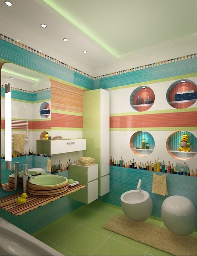14-pens-green kids bathrooms Colorful and funny kids bathrooms designs 14 pens green e1449489414295