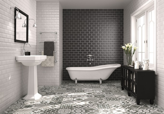 Bevelled Black And White Metro Wall Tiles Bath Upgrades 2016