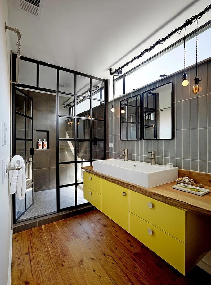Industrial Design   Bathroom Ideas: Industrial Design Custom shower glass door gives the bathroom a unique look