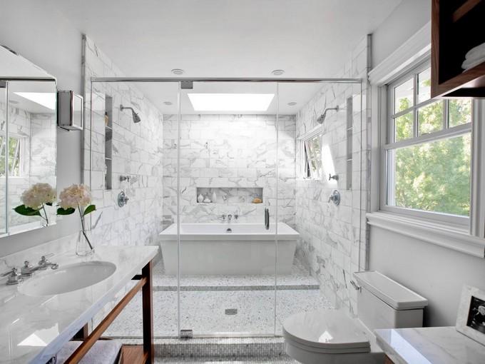 rain showers rain showers for your luxury bathroom original bathroom tile kriste michelini white contemporary s - Luxury Rain Showers