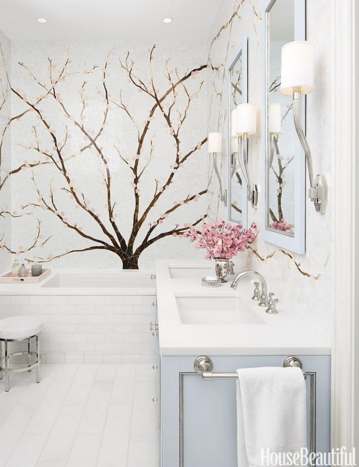 designer bathrooms luxury bathrooms maison valentina  designer bathrooms Beautiful Designer Bathrooms That Bring Style to Space 1430862055 01 custom azure blossom branch mural 0515