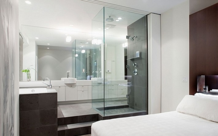Glass bathroom ideas attached with bedroom