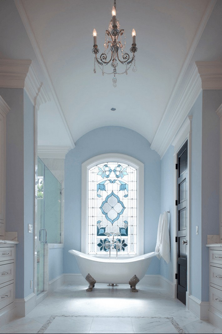Pantone Airy Blue Inspiration for your Bathroom  pantone airy blue Pantone Airy Blue Inspiration for your Bathroom pantone airy blue classic bathroom with stained glass window powder blue 2 min