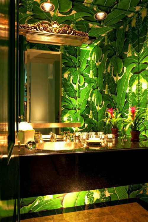 decorate your bathroom with greenery pantone of the year 2017