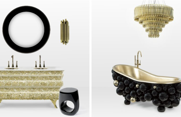 Luxury Bathroom Decor with Black + Gold Mood Boards luxury bathroom decor Luxury Bathroom Decor with Black + Gold Mood Boards collage 740x480