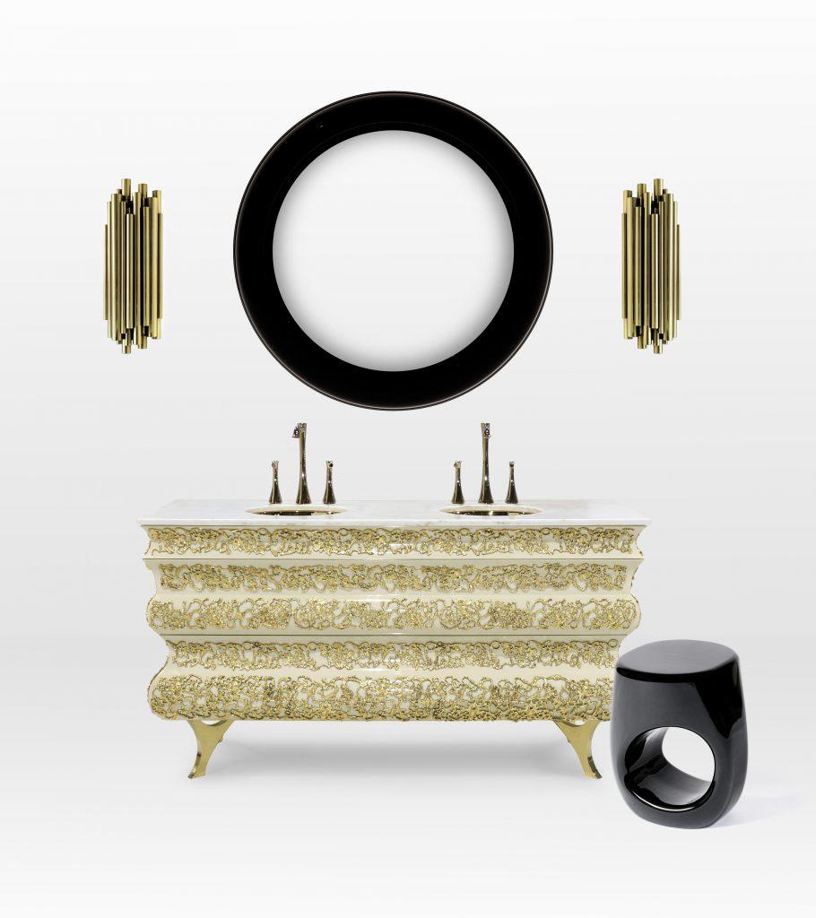 Luxury Bathroom Decor with Black + Gold Mood Boards Luxury Bathroom Decor Luxury Bathroom Decor with Black + Gold Mood Boards crochet washbasin ring mirror 1 HR