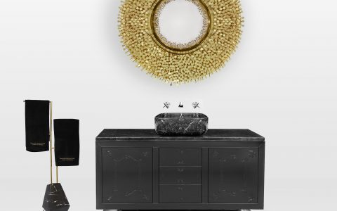 Luxury Bathroom Decor with Black + Gold Mood Boards