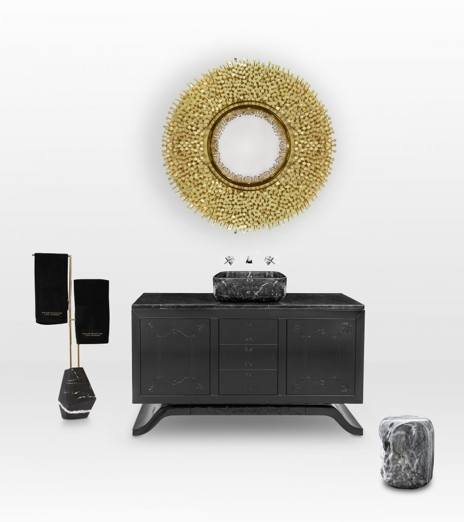 Luxury Bathroom Decor with Black + Gold Mood Boards Luxury Bathroom Decor Luxury Bathroom Decor with Black + Gold Mood Boards metropolitan washbasin diamond towel tack yoho stool 1 HR