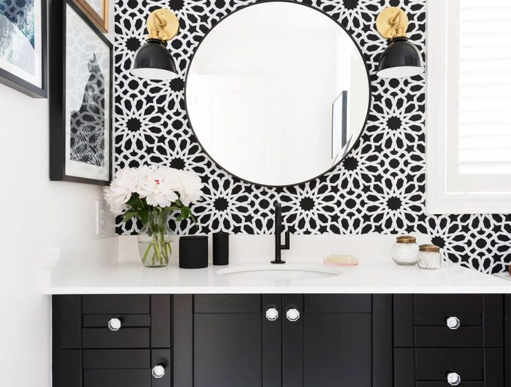 5 Colorful Wallpaper Design Ideas For Small Spaces 5 Colorful Wallpaper Design Ideas For Small Spaces Bathroom black and white wallpaper 740x560