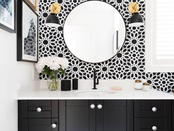 5 Colorful Wallpaper Design Ideas For Small Spaces 5 Colorful Wallpaper Design Ideas For Small Spaces Bathroom black and white wallpaper 740x560