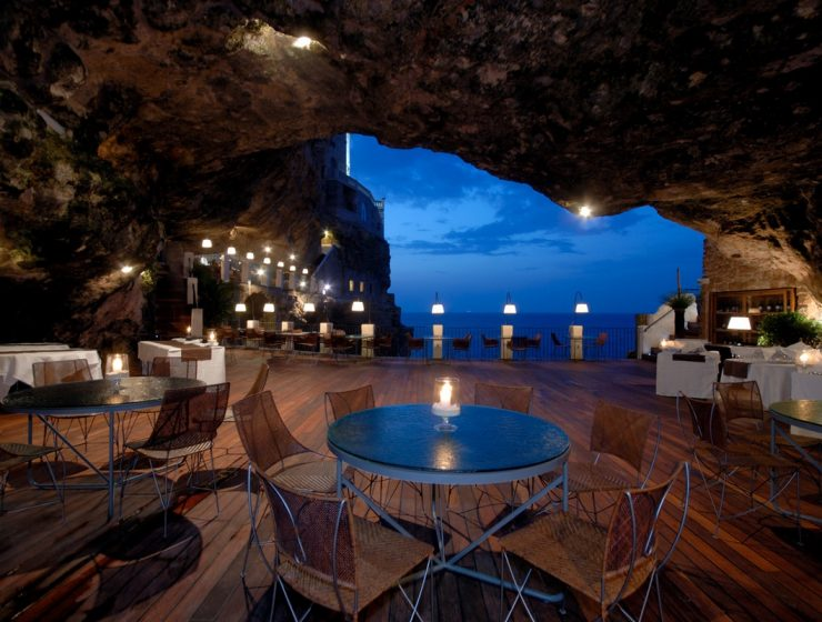 Boutique Hotel Grotta Palazzese Luxury restaurants: Boutique Hotel Grotta Palazzese incredible ristorante grotta palazzese polignano a mare italy with all natural beauties and amazing cave space dining with wonderful adriatic sea view 740x560
