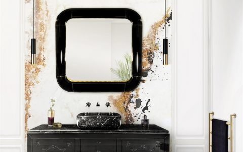 black and white bathrooms Tips For Perfect Black and White Bathrooms 19 metropolitan washbasin ring mirror maison valentina HR 480x300