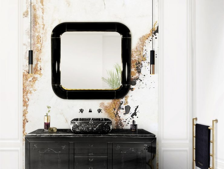 black and white bathrooms Tips For Perfect Black and White Bathrooms 19 metropolitan washbasin ring mirror maison valentina HR 740x560