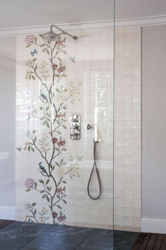 Bathroom Tile Ideas on Floral Tile Bathroom Ideas  id=48857