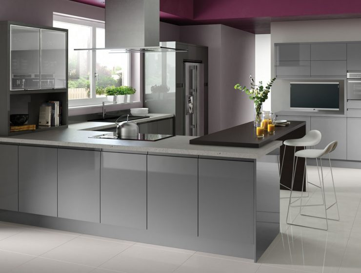 best grey kitchen ideas Best Grey Kitchen Ideas for a Chic Space fusion gloss grey rta m 740x560