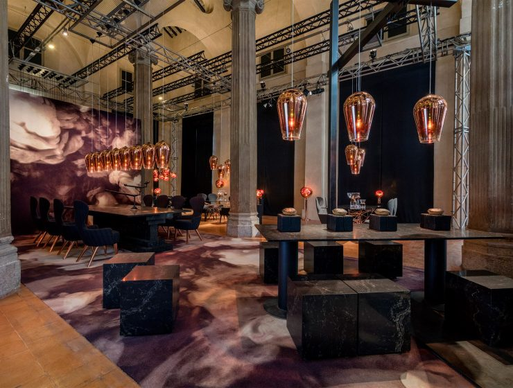 Restaurant by Tom Dixon and Caesarstone Discover the Stunning Restaurant by Tom Dixon and Caesarstone restaurant caesarstone tom dixon milan design week 2016 dezeen 1568 4 1 740x560