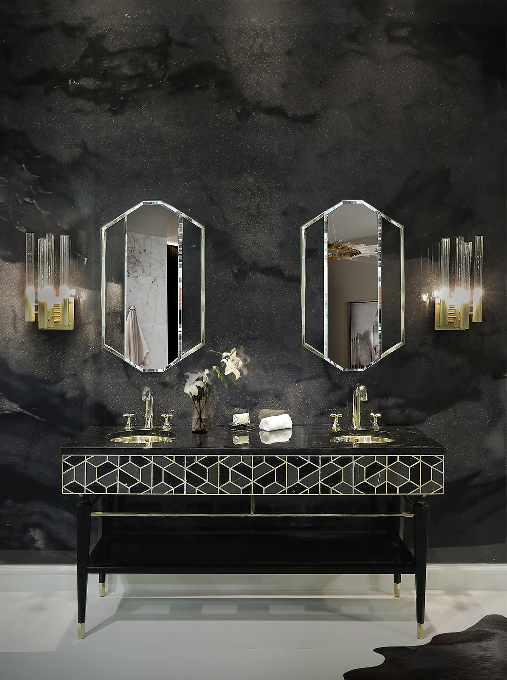 wall mirror,wall mirror ideas, inspiration, design inspiration, mirror wall mirror ideas 9 Wall Mirror Ideas That Will Give a Unique Look to Your Room tortoise washbasin saphire mirror