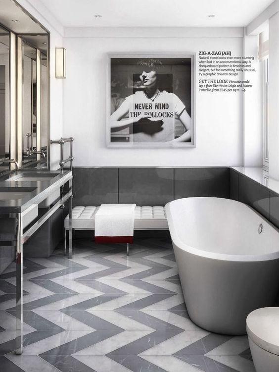 bathroom tile design Eye-Catching Bathroom Tile Design Ideas bathroom pattern zig zag tiles