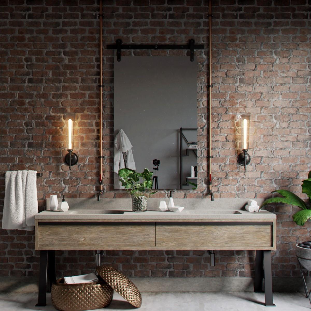 Bathroom Color Schemes, colorful bathroom, black bathroom, pink bathroom, rustic bathroom, bathroom, red bathroom Bathroom Color Schemes 5 Bathroom Color Schemes for Embellish your Decor industrial style bathroom mirror 1