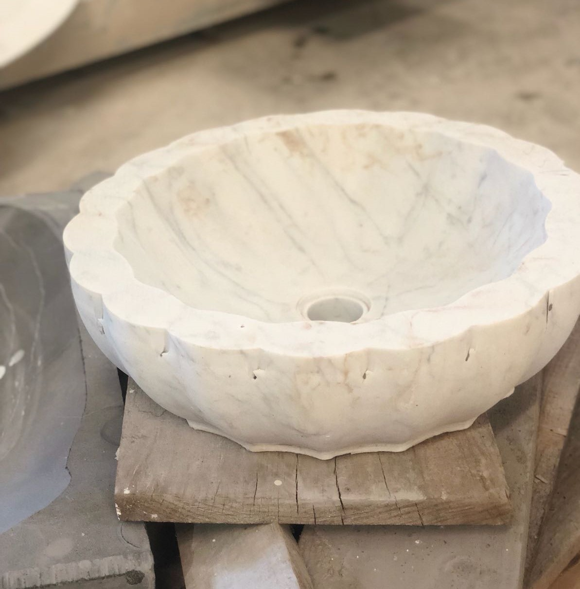 vessel sinks, maison valentina, marble, craftsman, carrara marble, nero marquina marble vessel sinks A Masterpiece is Born–Sneak Peak on Our Vessel Sinks' Production! Lotus Vessel Sink image