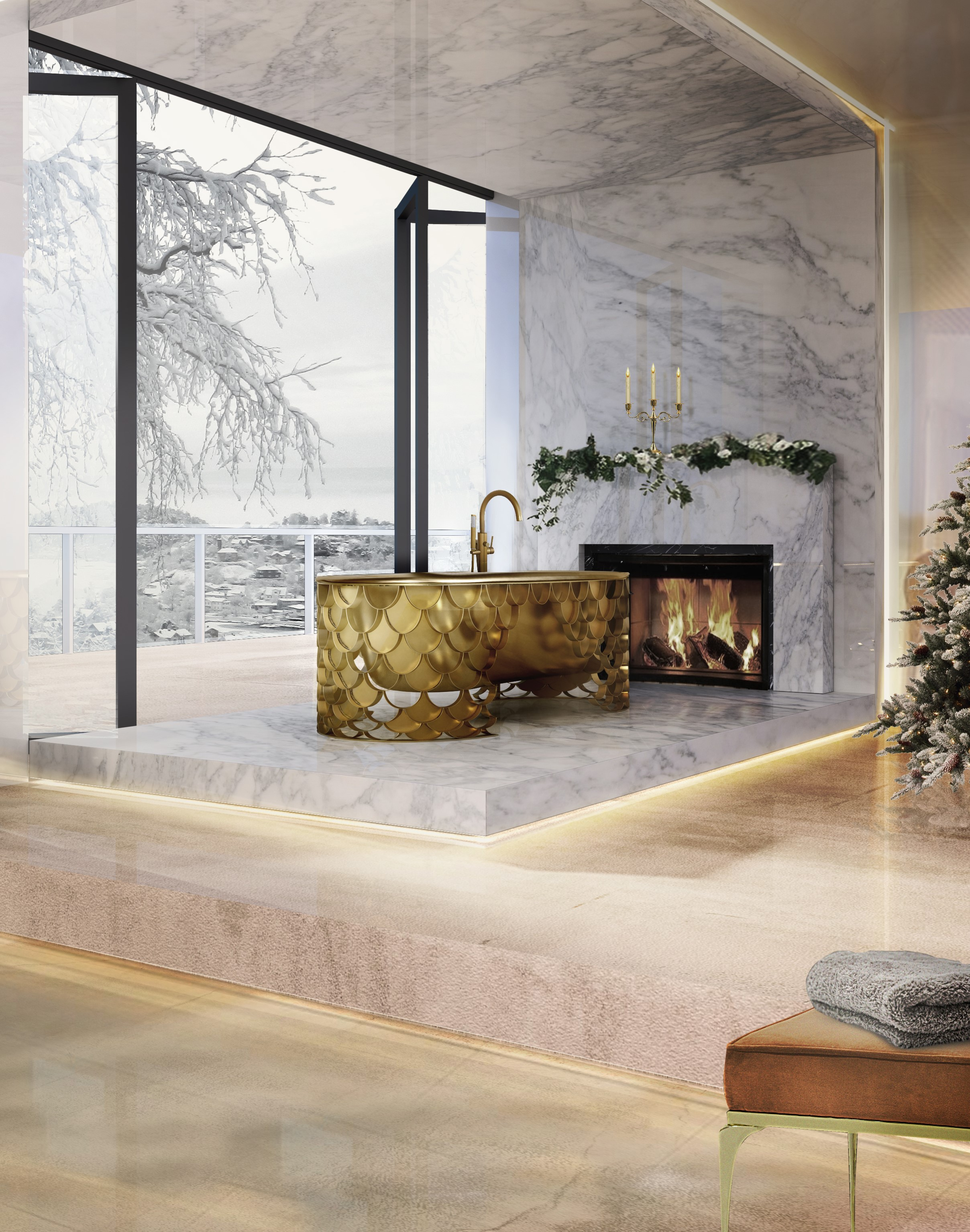 Bathroom with a fireplace, winter trends, Bathroom, Fireplace, romantic, heat, interior designers, maison valentina bathroom with a fireplace Winter Trends: Why You Should Have a Bathroom with a Fireplace 34 koi bathtub 1 HR 2