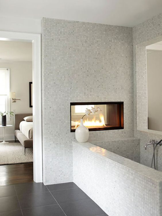 bathroom with a fireplace, winter trends, bathroom, fireplace, romantic, heat, interior designers, Maison Valentina bathroom with a fireplace Winter Trends: Why You Should Have a Bathroom with a Fireplace Fireplace on the Bathroom 2