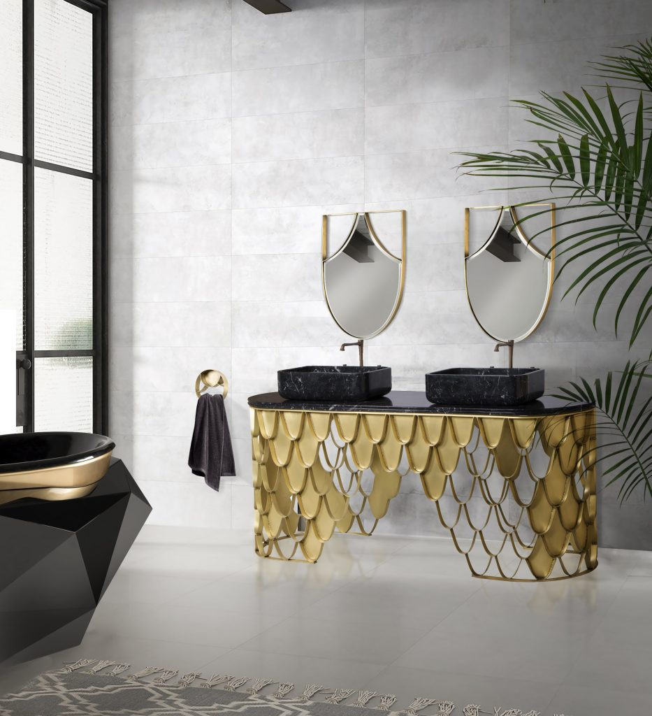Contemporary Style, bathroom, bathtub, koi, maison valentina, brabbu, design, bathroom decor  contemporary style Contemporary Style – Get Inspired by Our Favorite Bathroom Decor Ideas Contemporary Bathrooms 4 933x1024