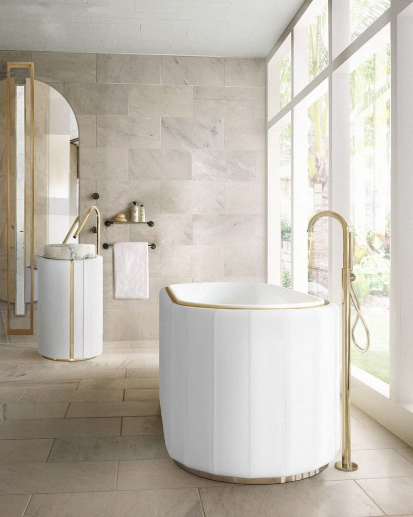 Darian Collection,bathtub, freestanding, bathroom, bathroom design, bathroom decor, leather, white bathtub darian collection Dare to Take Full Sophistication to Your Bathroom: Discover Darian Collection Inst image 6 819x1024