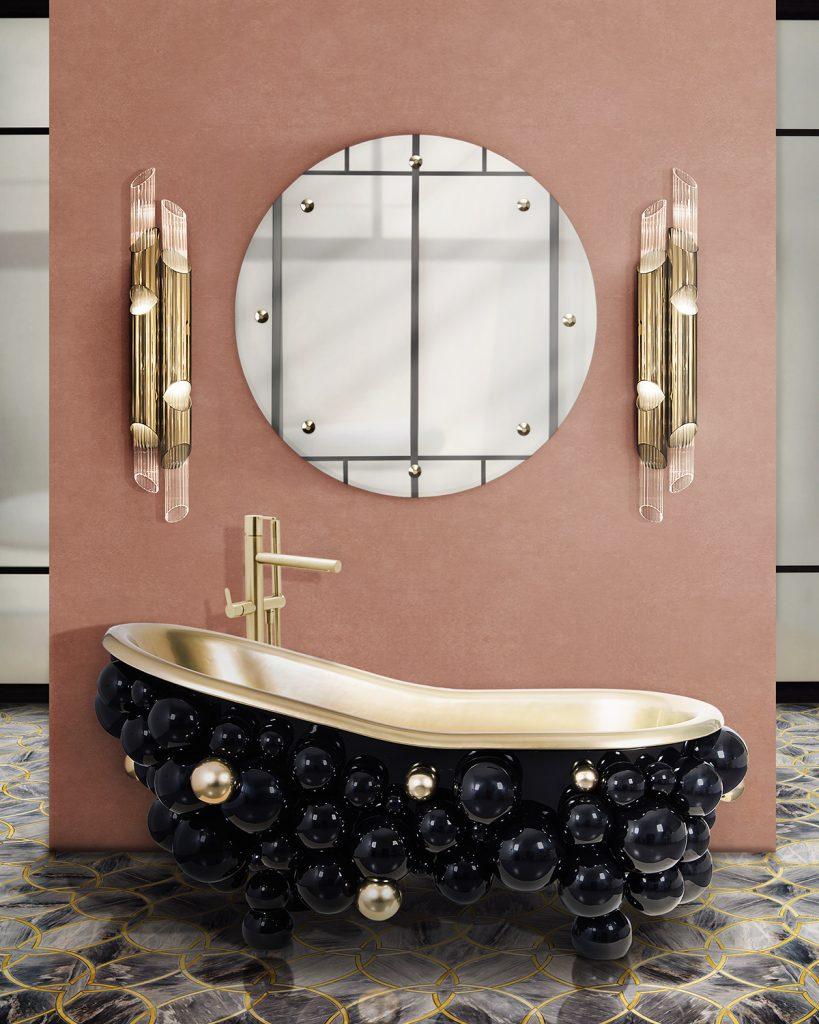 Bathroom Paint Colors, bathroom design, design, interior design, bathtub, washbasin, suspension cabinet, maison valentina bathroom paint colors 4 Surprising Bathroom Paint Colors to Try this Season Surprising Bathroom Colors 819x1024