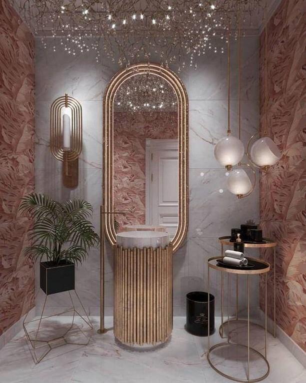 Pink bathrooms, pink, bathroom, decor, design, maison valentina, studia 54, simple interiors, utkan gunerkan pink bathrooms 6 Dazzling Pink Bathrooms that Will Inspire You Pink Bathrooms 1