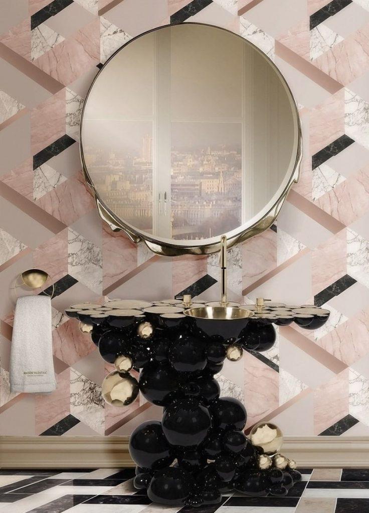 Pink bathrooms, pink, bathroom, decor, design, maison valentina, studia 54, simple interiors, utkan gunerkan pink bathrooms 6 Dazzling Pink Bathrooms that Will Inspire You Pink Bathrooms 3 2 736x1024