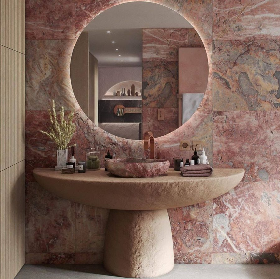 6 Dazzling Pink Bathrooms that Will Inspire You Pink Bathrooms 4 2 900x897  homepage Pink Bathrooms 4 2 900x897