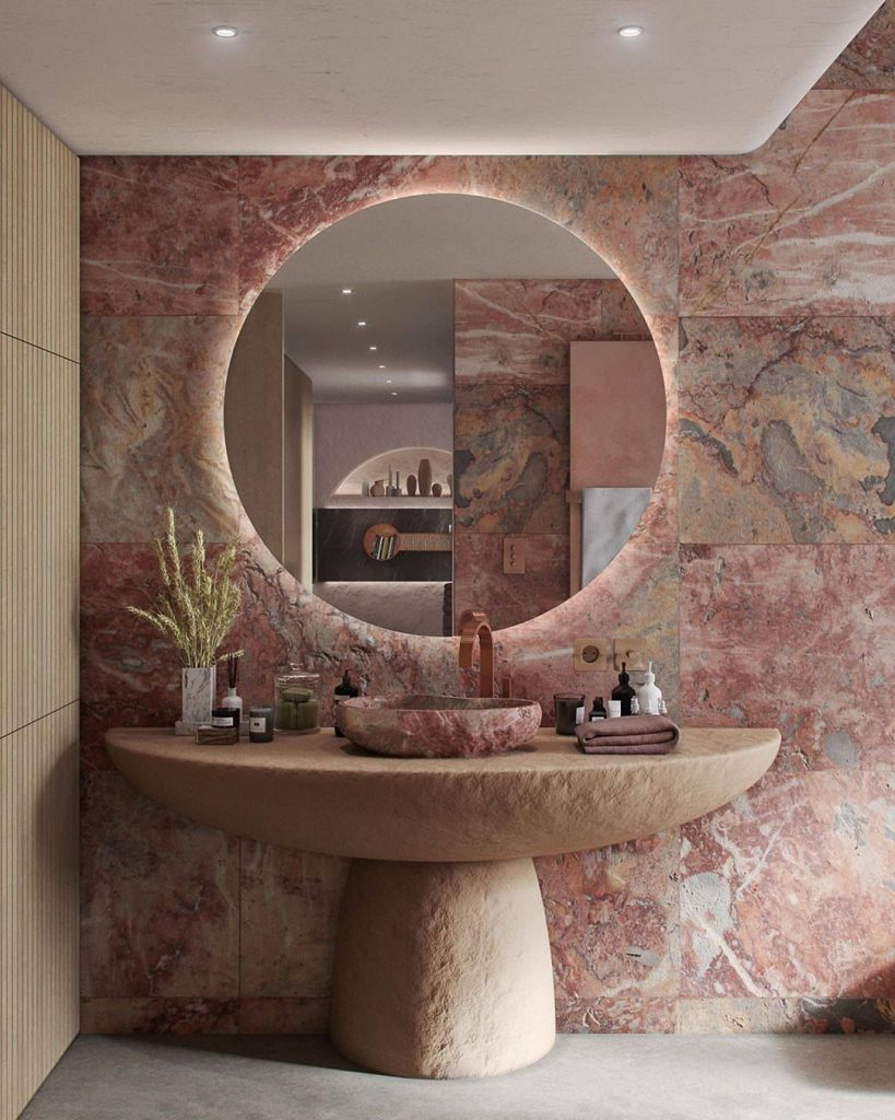 Pink bathrooms, pink, bathroom, decor, design, maison valentina, studia 54, simple interiors, utkan gunerkan pink bathrooms 6 Dazzling Pink Bathrooms that Will Inspire You Pink Bathrooms 4 819x1024