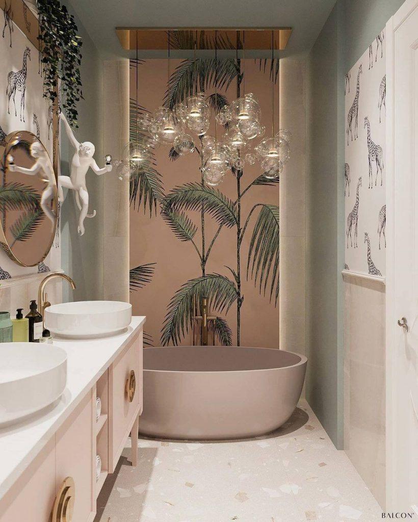 Pink bathrooms, pink, bathroom, decor, design, maison valentina, studia 54, simple interiors, utkan gunerkan pink bathrooms 6 Dazzling Pink Bathrooms that Will Inspire You Pink Bathrooms Balcon studio 1 820x1024