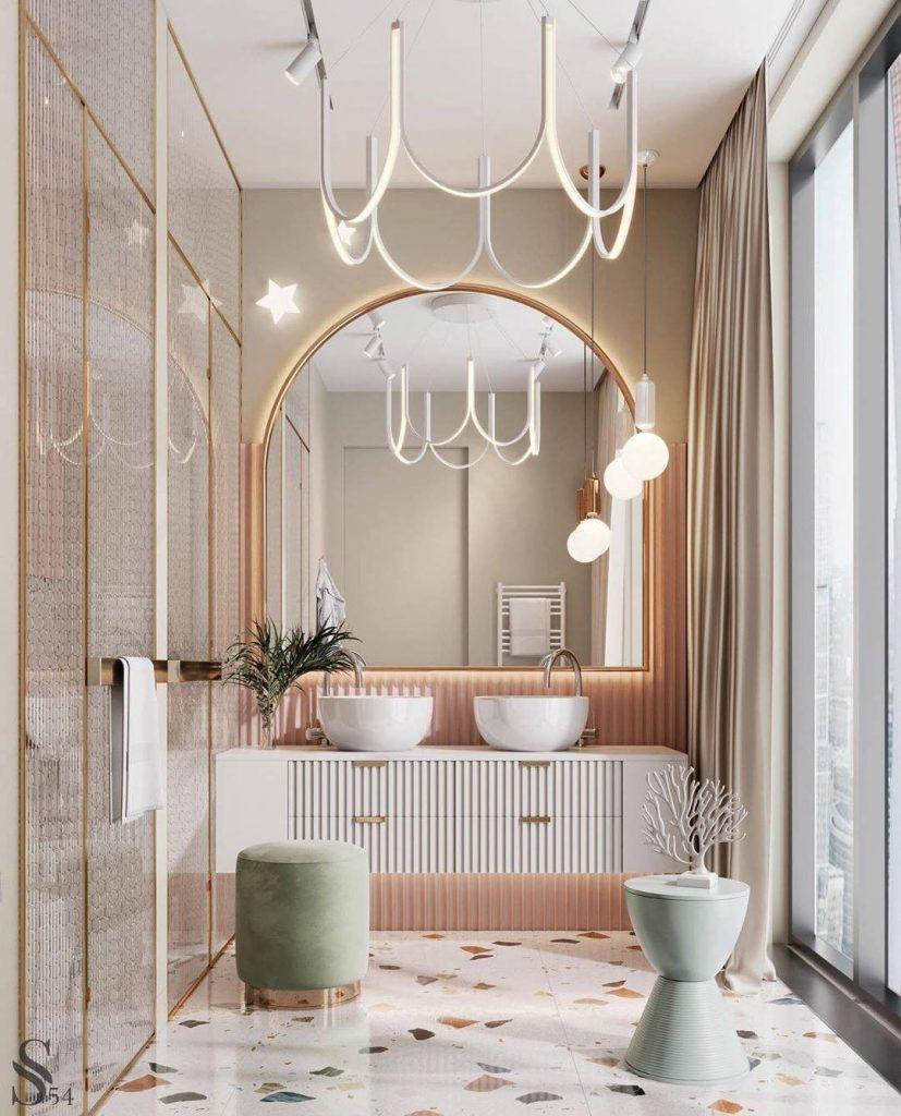 Pink bathrooms, pink, bathroom, decor, design, maison valentina, studia 54, simple interiors, utkan gunerkan pink bathrooms 6 Dazzling Pink Bathrooms that Will Inspire You Pink Bathrooms Studia 54 1 827x1024