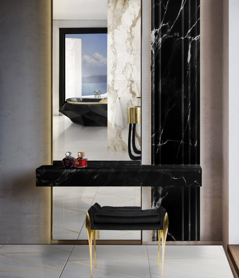 Some of the Most Luxurious Projects by Lucinda Loya Interiors lucinda loya Some of the Most Luxurious Projects by Lucinda Loya Interiors diamond bathtub and stiletto stool shine on bold bathroom 1