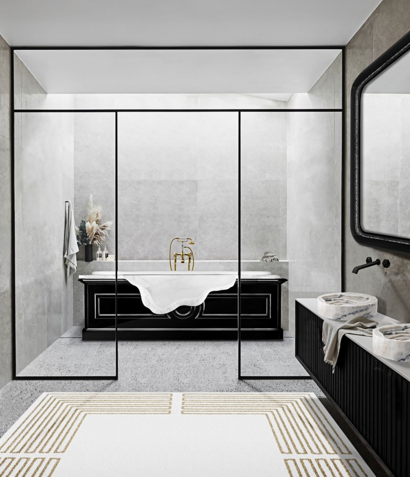 Some of the Most Luxurious Projects by Lucinda Loya Interiors lucinda loya Some of the Most Luxurious Projects by Lucinda Loya Interiors minimal bathroom with petra bathtub and duorum vessel sink 1