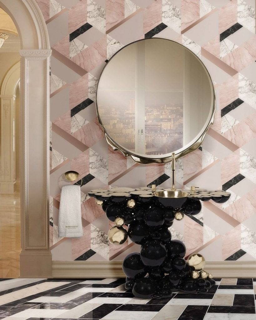 Pink Bathroom Wall Paper pink bathroom Pink Bathroom Ideas: Transform Your Bathroom With This Intense Color 153149410 3826090424118434 822094231093117131 n 819x1024