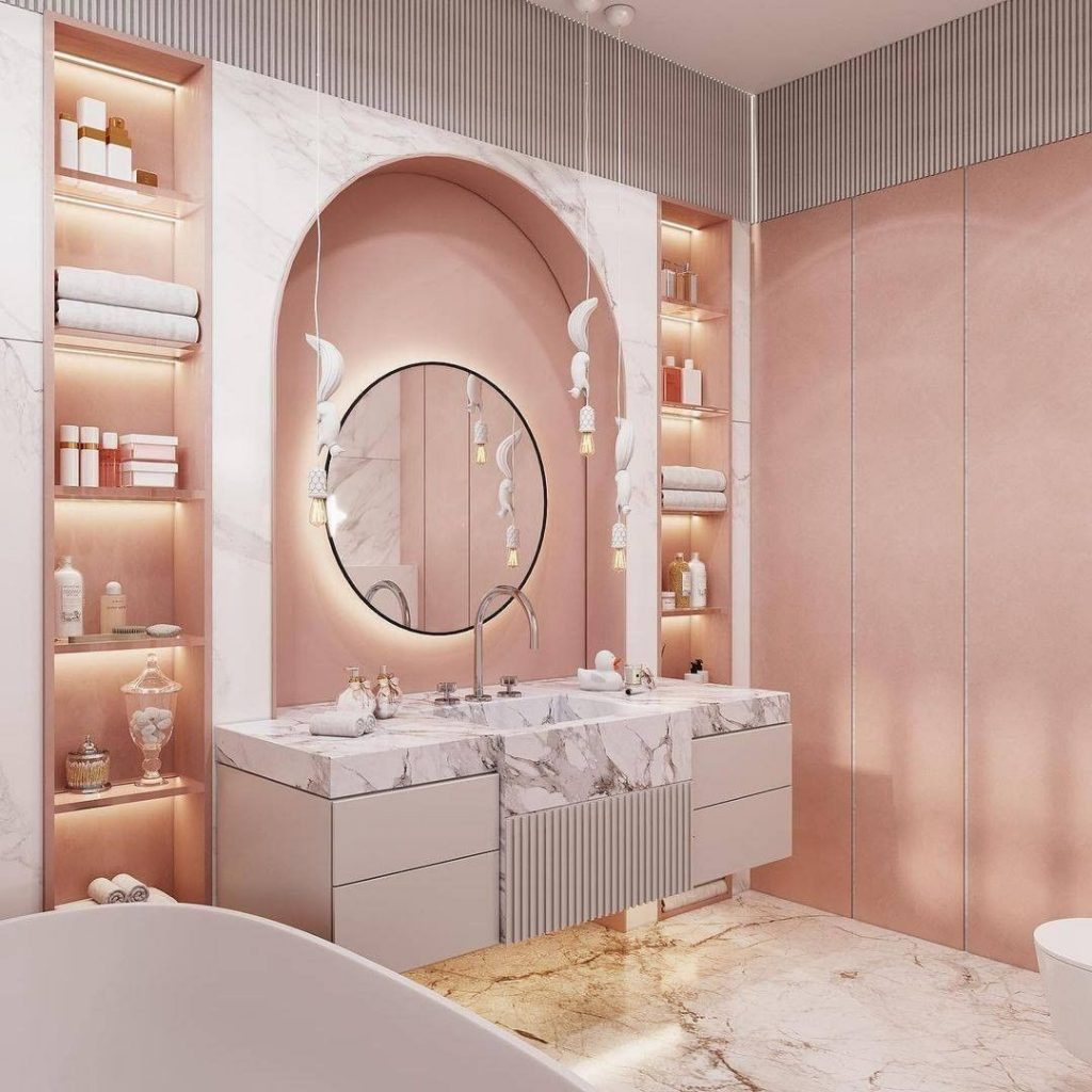 Full Pink Bathroom  pink bathroom Pink Bathroom Ideas: Transform Your Bathroom With This Intense Color 155466423 467512204612386 7542013244465332834 n 1024x1024