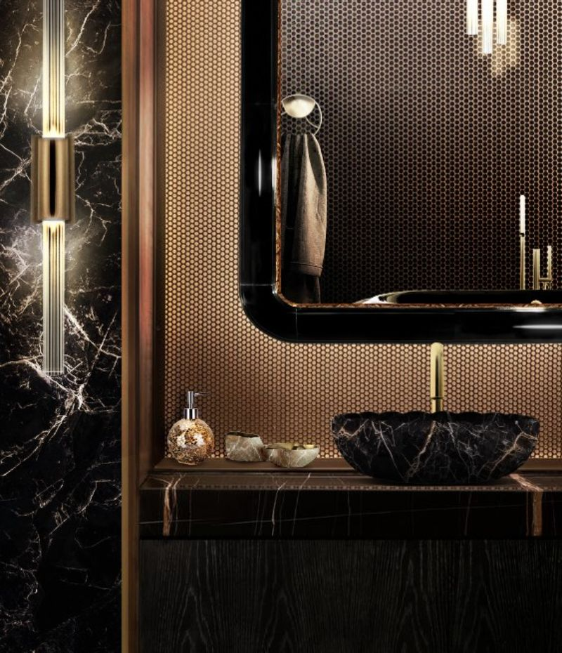 Decorate Bathroom Ideas From Superfat Designs That Will Inspire You  decorate bathroom ideas Decorate Bathroom Ideas From Superfat Designs That Will Inspire You black and gold bathroom set with ring rectangular mirror and lotus vessel sink 1