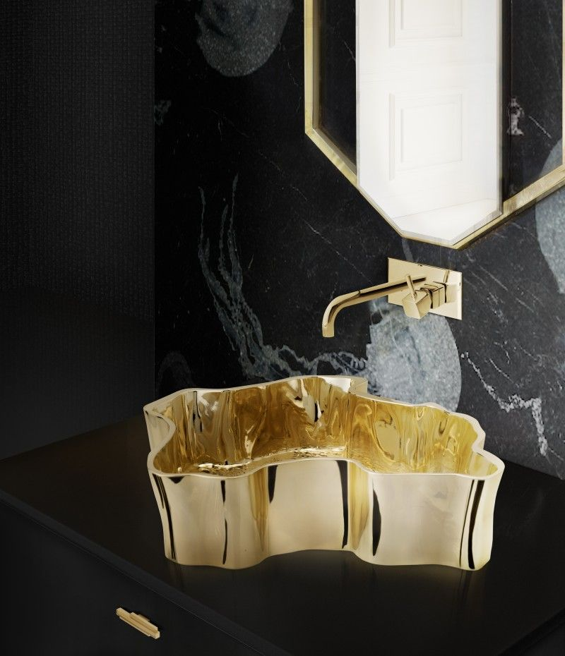 Decorate Bathroom Ideas From Superfat Designs That Will Inspire You  decorate bathroom ideas Decorate Bathroom Ideas From Superfat Designs That Will Inspire You bold design for guest bathroom with sapphire mirror and eden vessel sink 1