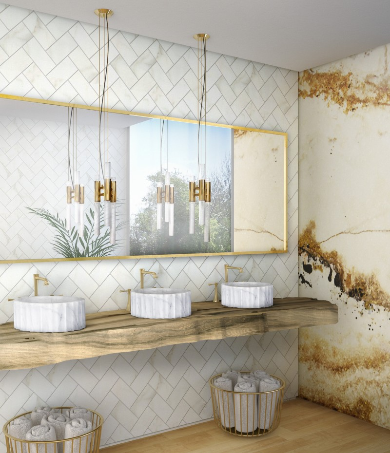 9 Studio Design Modern Bathroom Ideas To Inspire You 9 studio design 9 Studio Design Modern Bathroom Ideas To Inspire You bright hotel bathroom with symphony vessel sink and gold onyx surface