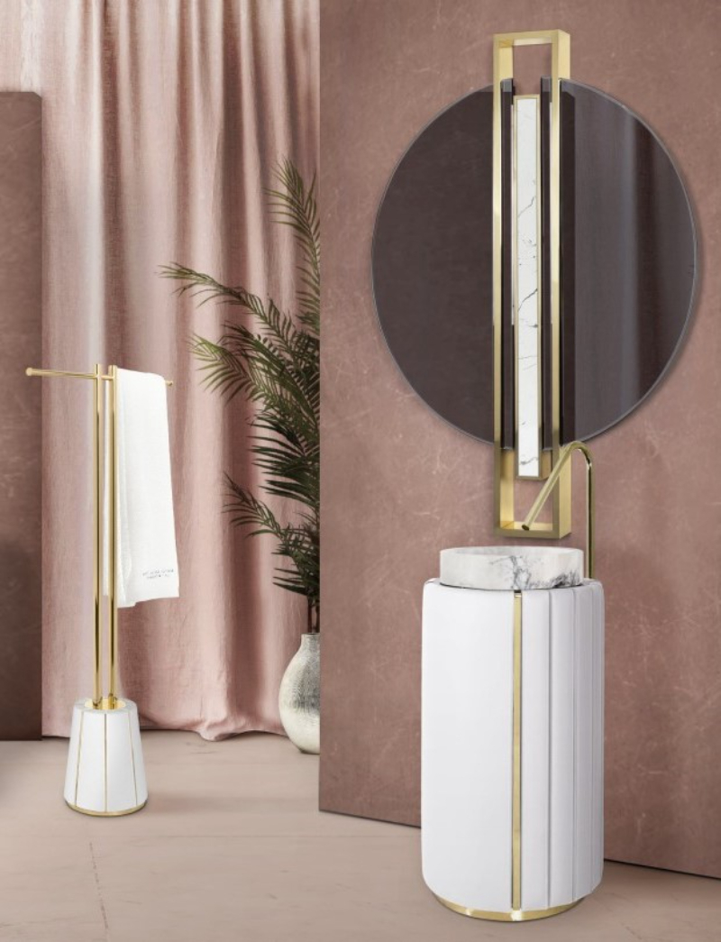 interior designer patricia bustos Beautiful Bathroom Ideas  With Madrid Interior Designer Patricia Bustos charming bathroom with white darian towel rack and white darian freestanding 1