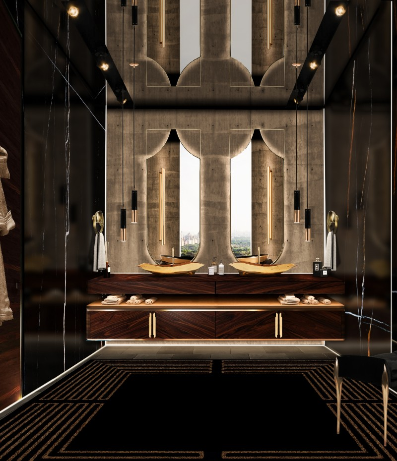 The Most Inspiring Ideas from Motion Design the most inspiring ideas from motion design The Most Inspiring Ideas from Motion Design dark and gold master bathroom with koi mirror and lapiaz vessel sink 1