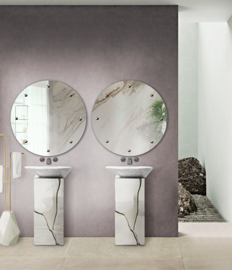 bathroom projects The Best Bathroom Projects From The Madrid Studio ILMIO DESIGN lapiaz freestanding and glimmer mirror shine on minimal design bathroom 1