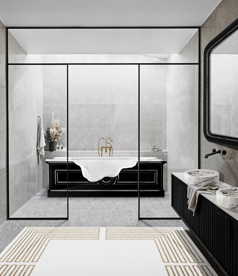 9 Studio Design Modern Bathroom Ideas To Inspire You 9 studio design 9 Studio Design Modern Bathroom Ideas To Inspire You minimal bathroom with petra bathtub and duorum vessel sink