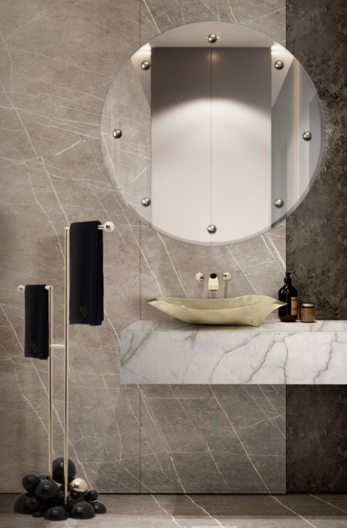 Neutral Small Bathroom  small bathroom Small Bathroom Designs: How to turn them into Luxurious and Spacious Oasis small neutral guest bathroom with lapiaz vessel sink and glimmer mirror 1