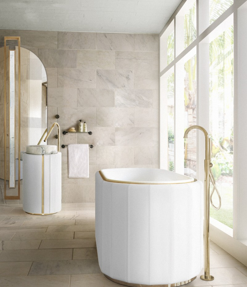 interior designer patricia bustos Beautiful Bathroom Ideas  With Madrid Interior Designer Patricia Bustos sophisticated bathroom with white darian bathrtub and darian frestanding 1