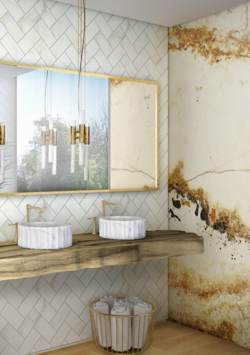 bathroom inspiration The Best Bathroom Inspiration From Vilablanch bright hotel bathroom with symphony vessel sink and gold onyx surface 1 1