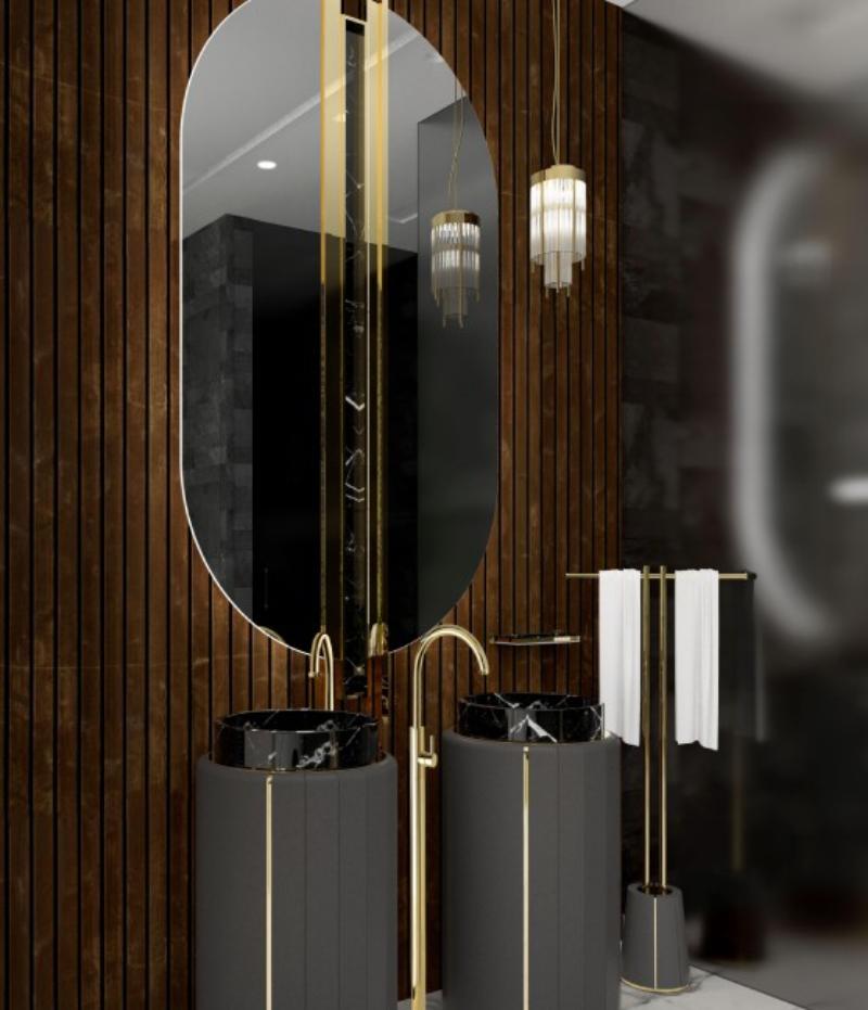 modern interior design 8&A Architetti Modern Interior Design – Contemporary Bathrooms divine wood bathroom with shield oval mirror and black darian freestanding 1